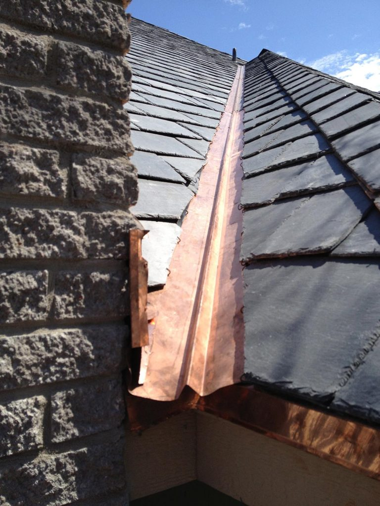 Copper strip edging roofing